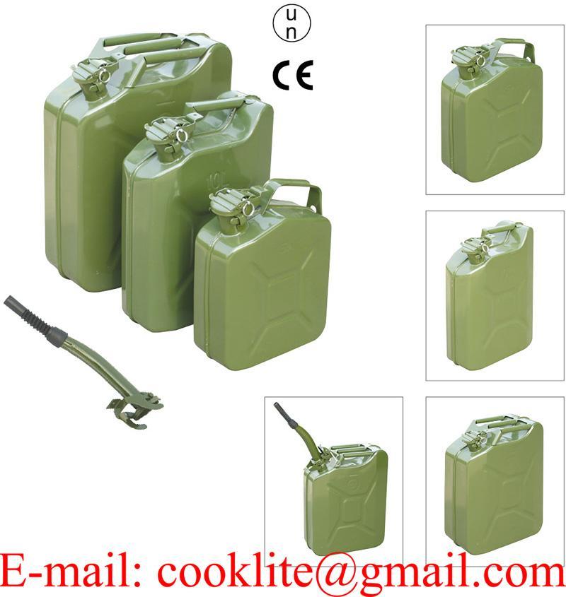 Galão de metal para transporte e abastecimento de gasolina e combustível