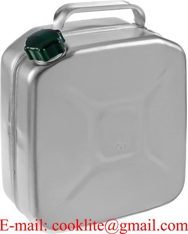 Galão bidão reservatório em alumínio 10 litros para transporte e armazenamento de combustíveis e água