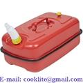 Galão bidão reserva 5 litros vermelho deitado galvanizado com bico