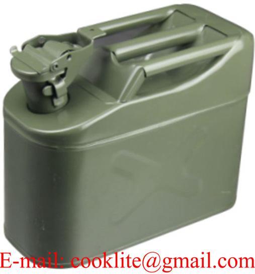 Galão metálico tipo militar 5L para gasolina e diesel com tampa de segurança
