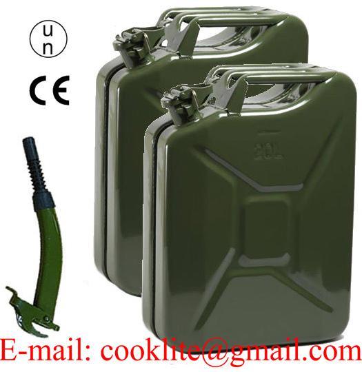 Galão de metal tipo militar 20L para transportar gasolina e combustível com tampa de segurança