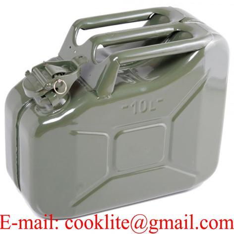 Galão de metal para transporte e abastecimento de combustível - 10 Litros