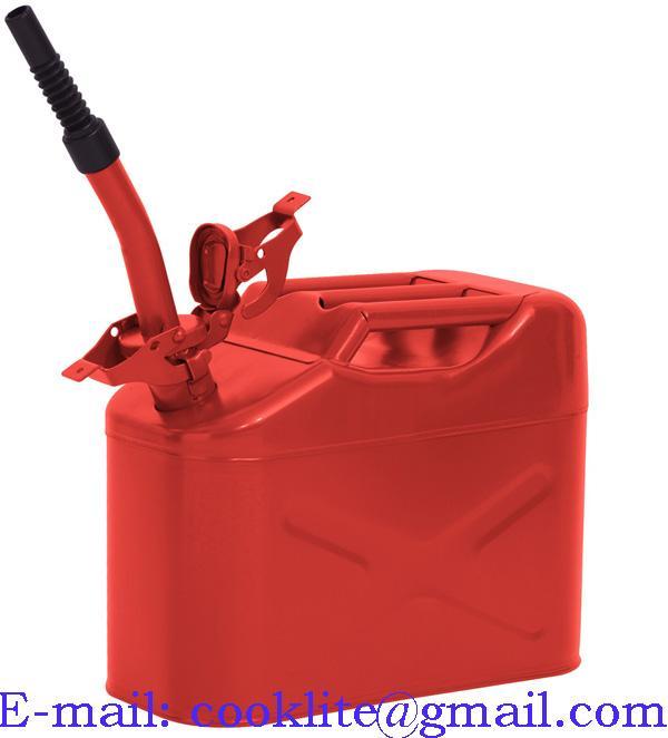 Galão metálico tipo militar 10L para gasolina e diesel com tampa de segurança