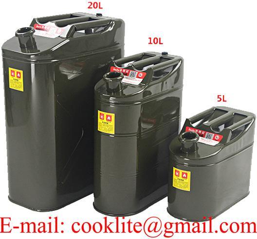 Galão galvanizado para transporte e armazenagem de gasolina ou combustível