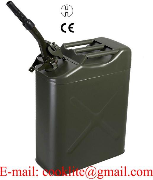 Galão metálico tipo militar 20L para gasolina e diesel com tampa de segurança