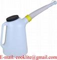 Plastmått 5 liter oljemått med lock och böjbar pip