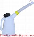 Plastmått 1 liter oljemått med flexibelt avskruvbart utlopp samt lock