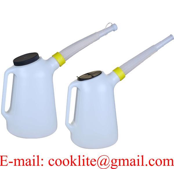 Gieter Oliekan /Maatbeker/Schenkkan met deksel en flexibele tuit 5 liter