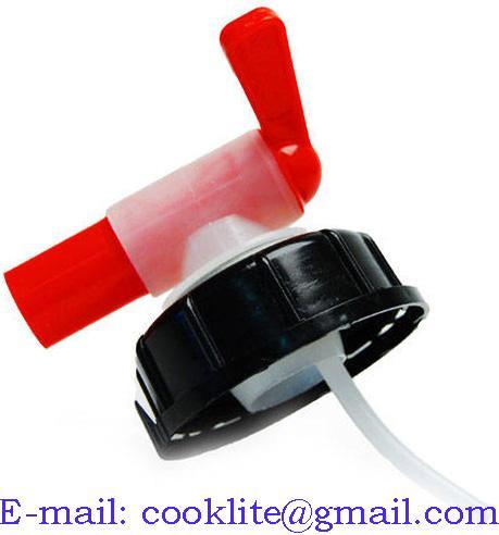 Red/white 58mm aeroflow tap cap for 20l liquid chlorine drum/container