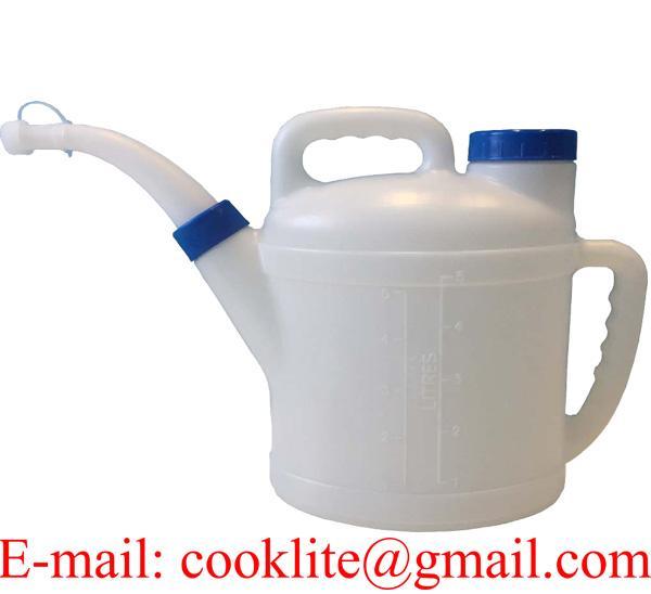 5 Litre Petrol Diesel Fuel Oil Measuring Jug Pouring Spout Lid Handle Plastic