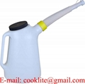 6 Litre Plastic Measuring Jug with Flexible Spout & Lid Oil Fuel Pourer