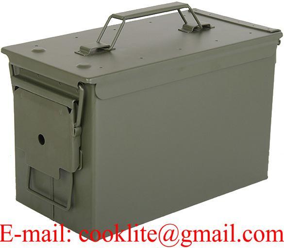 US ammunitions kasse i metal med aftageligt låg