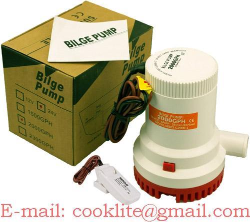Dompel bilgepomp / Draagbare lenspomp voor boot 12/24V 2000 GPH