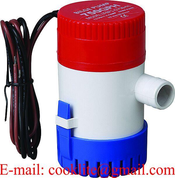Elektrisk lensepumpe 12V 750GPH Nedsenkbar pumpe