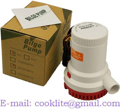 Elektrisk nedsenkbar lensepumpe 12V 2000GPH Senkbar pumpe