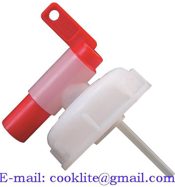DIN 51 skruelåg med afløbshane - Plastdunk taphane 51 mm - Hældetud 10 L