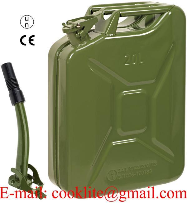 Stalen brandstof leger jerrycan 20 liter