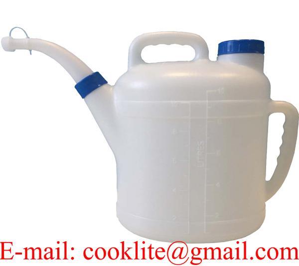 Polyethyleen schenkkan/maatkan 10L met handvat, vulopening en schenktuit