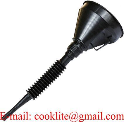 Benzine/olie trechter met zeef en flexibele tuit