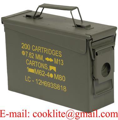 Cassetta in metallo porta munizioni / Scatola portamunizioni in acciaio Cal 30