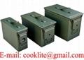 Caja de municiones metálica en tres tamaños para almacenar munición
