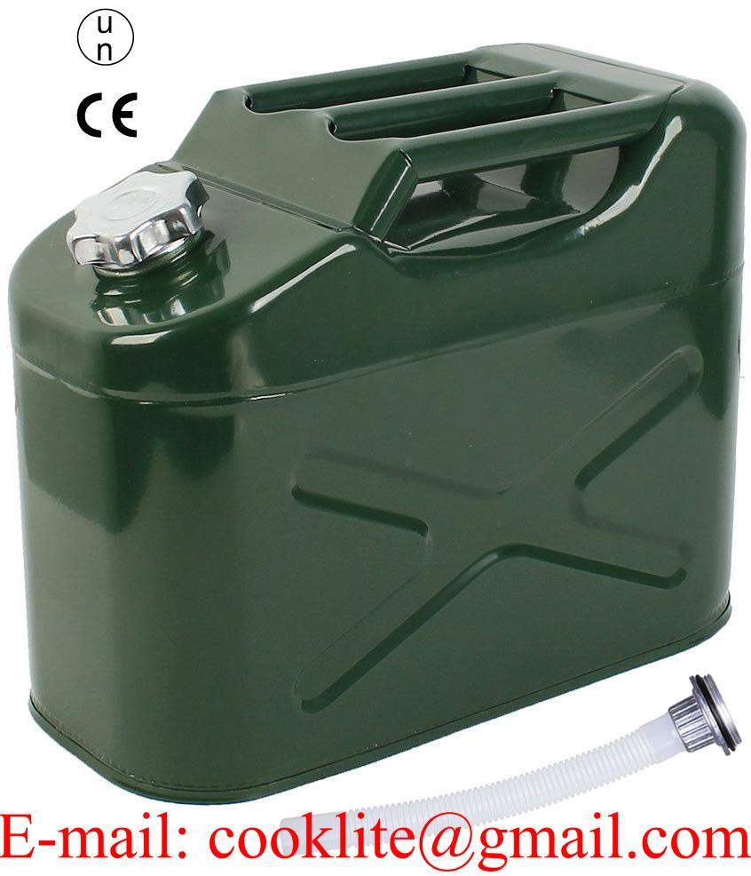 Bidón metálico o tanque Jeep para bencina o agua 10 Litros