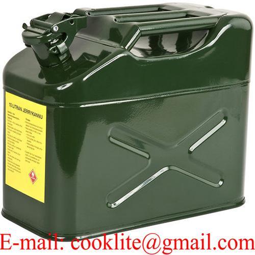 Galonera o bidón de Jeep de metal para gasolina y combustible 10 litros