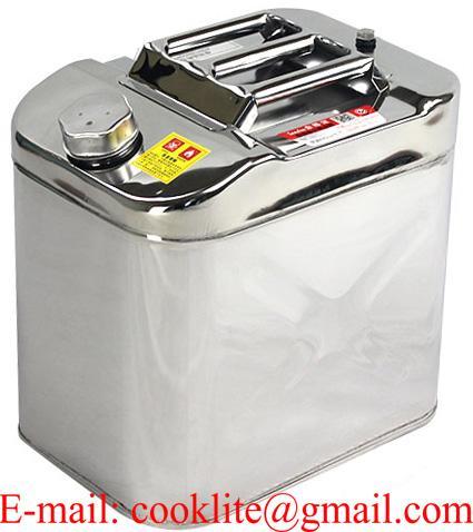 Bidón tanque en acero inoxidable para gasolina y combustible 25 litros