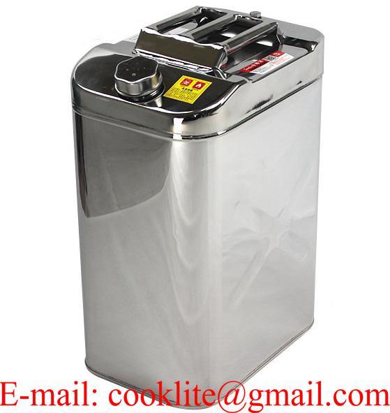 Bidón o galonera de acero inoxidable para combustible y agua con boquilla 40l