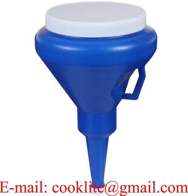 1 1/4 Quart Dark Blue Double Capped Plastic Straining Funnel