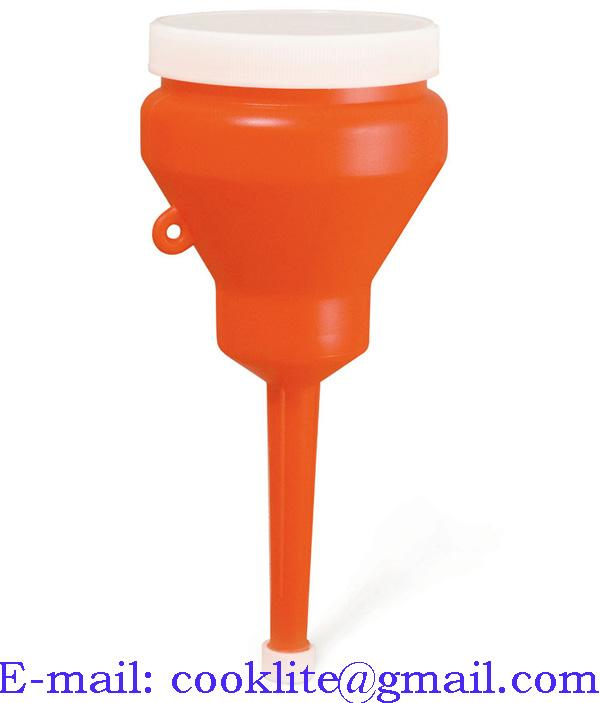 1 Pt Plastic funnel with non spill rim, cap and lid