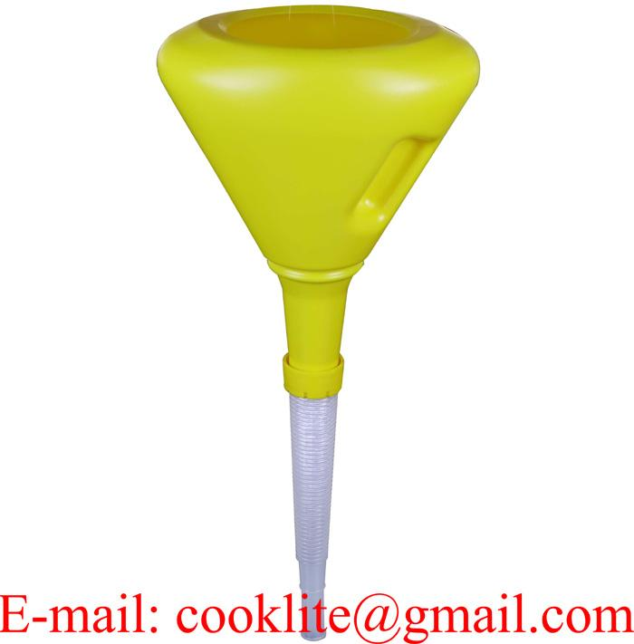 230mm Polythene anti splash funnel with strainer and flexible removable spout