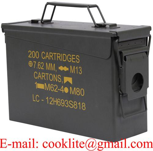 Metal Ammo Storage Box M19A1 30 Cal. Military Steel Can