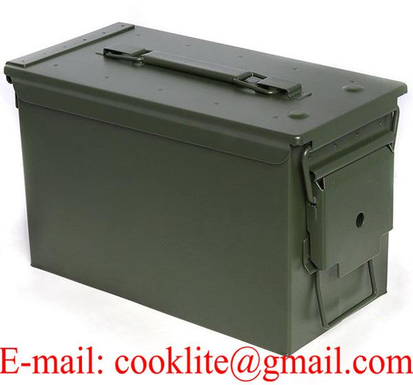 Metal Ammo Can Military 50 Cal M2A1 Heavy Gauge Steel Ammo Storage Box