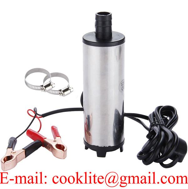 12V Mini Portable Stainless Steel Diesel Fuel Water Oil Submersible Transfer Pump with Removable Filter