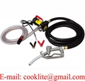 12V 24V Portable Diesel Fuel Transfer Pump Biodiesel Kerosene Oil Manual Nozzle Hose Kit Truck Tractor Self Priming