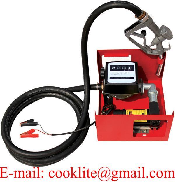 Portable 12V 24V DC Electric Fuel Transfer Pump Station Diesel Kerosene Oil Commercial Manual Nozzle