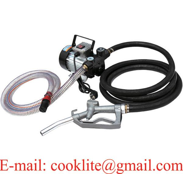 Electric Fuel Transfer Pump Kit Diesel Kerosene Oil Commercial Manual Nozzle Portable 110V 230V AC