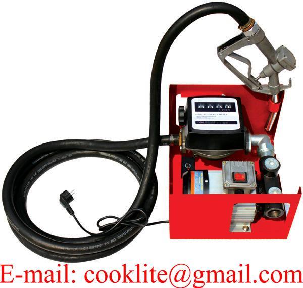 Electric Diesel Oil Transfer Pump 110V 230V Fuel Manual Nozzle Hose w/ Meter