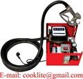 110V 230V Electric Fuel Diesel Gas Transfer Pump w/ Meter Manual Nozzle Oil Transfer