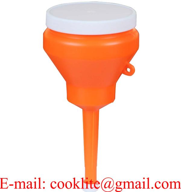 """Orange 1 Pint Double Capped Funnel 3"""" OD Top x 8-3/4"""" H x 1/2"""" OD Bottom"""