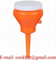 "Orange 1 Pint Double Capped Funnel 3"" OD Top x 8-3/4"" H x 1/2"" OD Bottom"