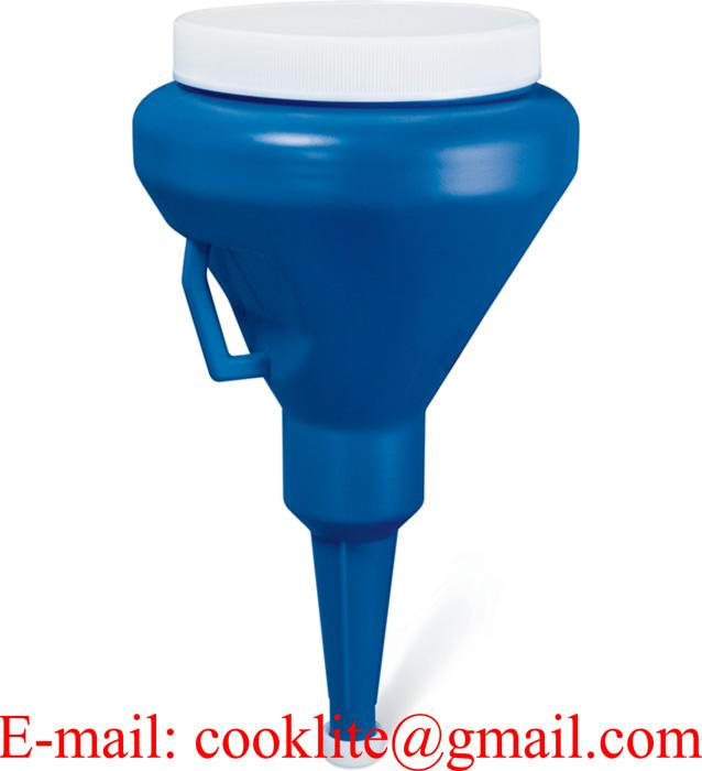 "Dark Blue 1-1/4 Quart Double Capped Funnel 4"" OD Top x 10-1/2"" H x 3/4"" OD Bottom"