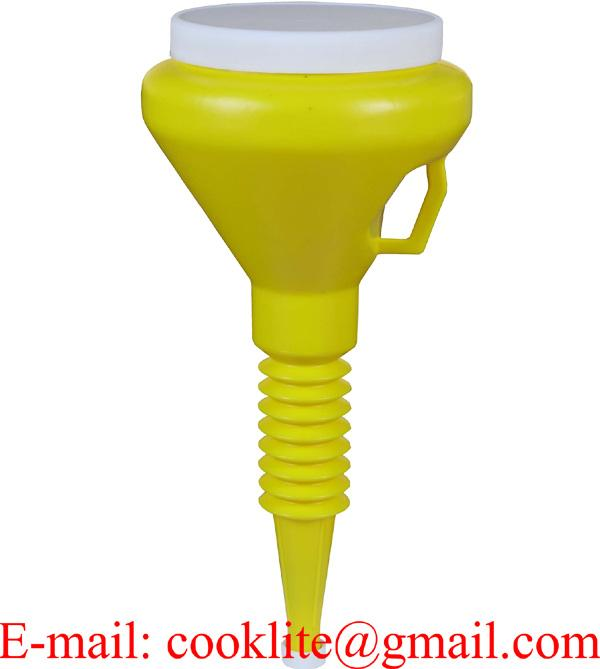 "Yellow 1-1/2 Quart Double Capped Funnel 4"" OD Top x 17"" H x 9/16"" OD Bottom"