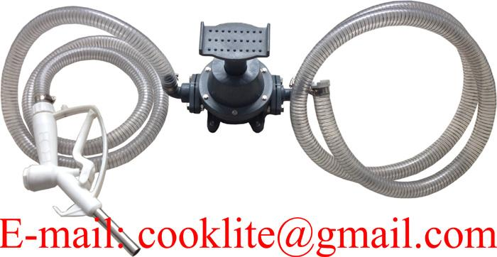 Transfer Refilling Petrol Gasoline Diesel Fuel Foot Pedal Pump Kit & Manual Nozzle w/ Hoses