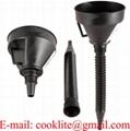 Car Auto Black Plastic Flexible Spout & Filter Gas Oil Water Fuel Funnel Set