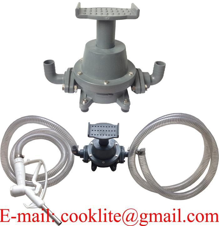Transfer Refilling Gasoline Diesel Fuel Foot Pump Kit & Manual Nozzle w/ 6' Hose