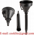 2 in 1 Car Black Plastic Flexible Can Spout Filter Gas Oil Water Fuel Funnel