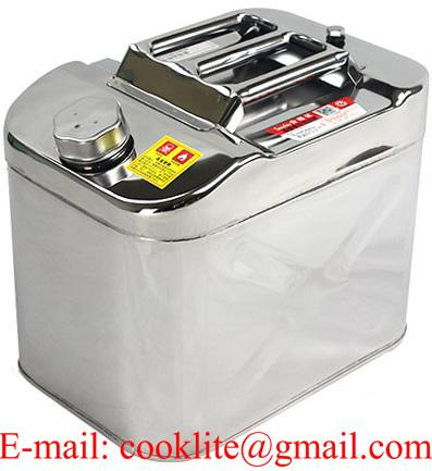 Stainless Steel 20 Litre Jerry Can With Screw Cap and Flexible Spout