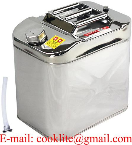 Jerry Can Polished Stainless Steel Fuel Petrol Diesel Oil Water 25L Litre